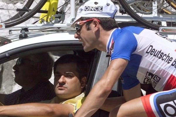 Laurent Jalabert sur le Tour de France 1998, avec son directeur sportif Manolo Sainz.