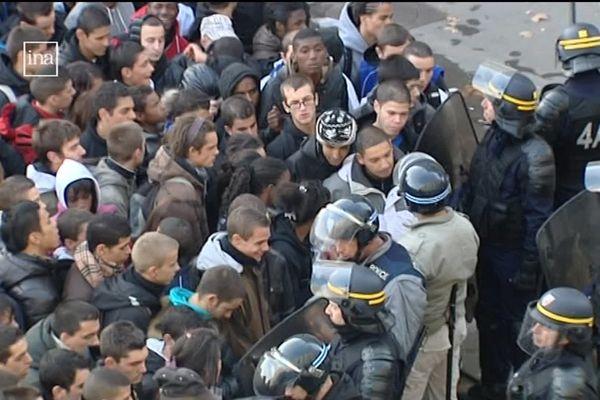 Une opération de maintien de l'ordre et de contrôle d'envergure place Bellecour, le 21 octobre 2010.