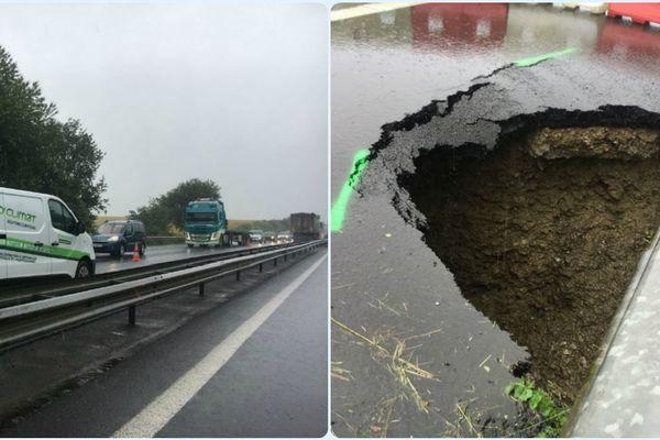 Des kilomètres de bouchons depuis dimanche sur la RN 157 Paris-Laval suite à l'effondrement de la chaussée