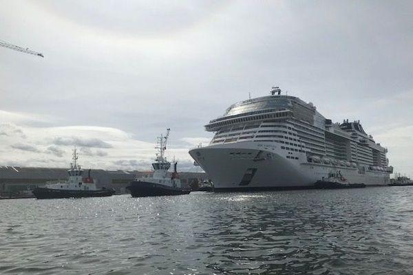 Arrivée du MSC Vituosa au bassin de Penhoët, le 24 août 2020