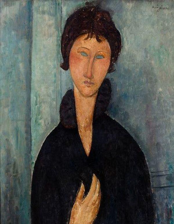 Femme aux yeux bleus d'Amedeo Modigliani, tableau exposé au musée d'Art moderne de la ville de Paris