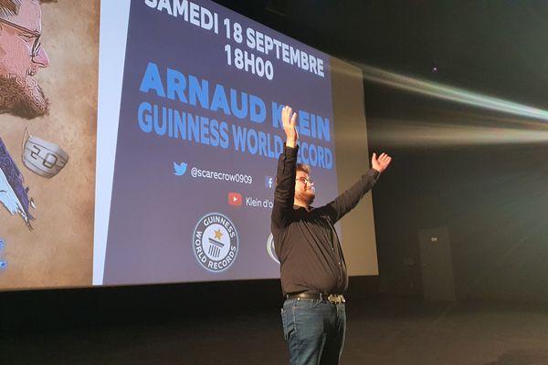 Arnaud Klein, le soir de sa 203e séance du film Kaamelott.