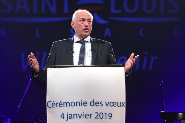Jean-Marie Zoellé lors de la cérémonie des voeux 2019 de la commune de Saint-Louis au Forum