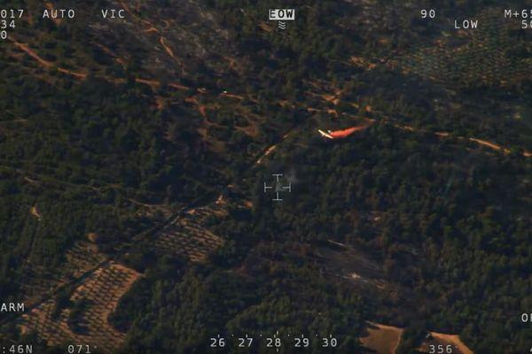 Capture d'écran d'une caméra haute-définition de l'Horus 13, avion de surveillance aérienne des pompiers des Bouches-du-Rhône.