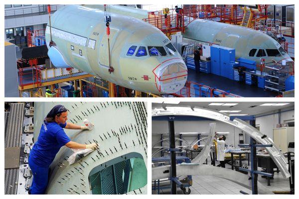 Usine Airbus en Chine (en haut), chaine d'assemblage chez Latécoère (en bas à gauche), travail sur un Airbus chez Figeac Aéro (en bas à droite)