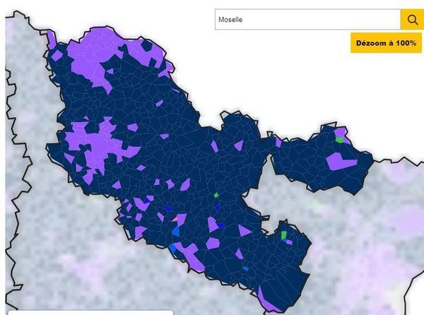Carte du vote en Moselle pour les Européennes 2019.