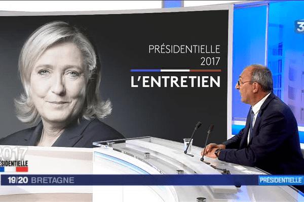 Gilles Pennelle, chef de file du Front nationale en Bretagne, a présenté sur le plateau de France 3 Bretagne le programme de Marine Le Pen, candidate à l'élection présidentielle.