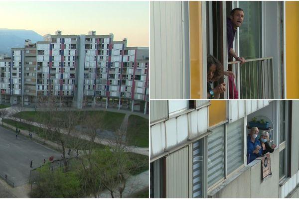 Des habitants de la Villeneuve de Grenoble se retrouvent tous les soirs à leur balcon pour chanter en cette période de confinement.
