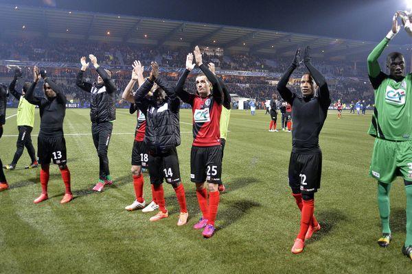 Concarneau le 5 mars 2015. Quart de finale de la coupe de France de football. La joie des Guingampais.