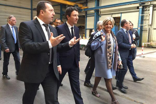 Le secrétaire d'Etat Benjamin Griveaux a visité l'entreprise Abraservice à Saint-Marcel, en Saône-et-Loire, mardi 10 octobre 2017