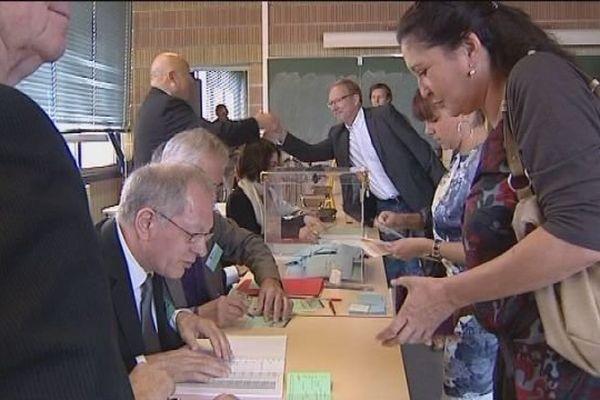 Le bureau de vote de Vesoul, en Haute-Saône, ce dimanche matin.