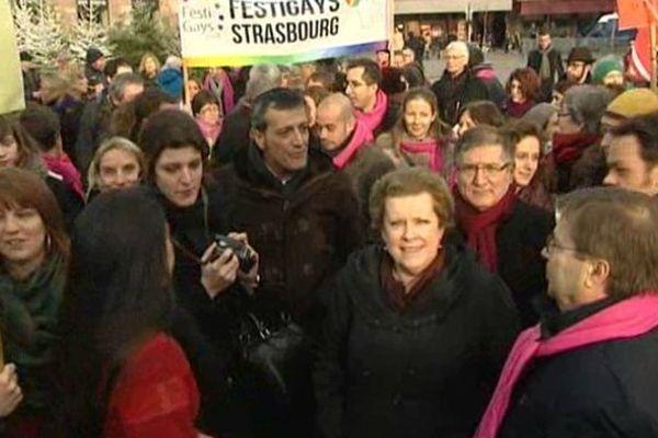Plus de 200 manifestants rassemblés place Kléber à Strasbourg