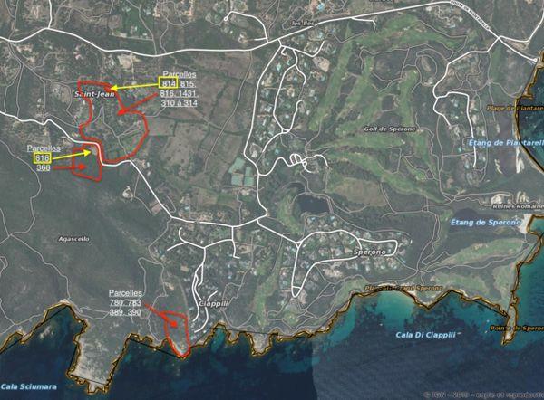 Cerclés en rouge, les lots du domaine Saint Jean et de Ciappili qui composent les 9,2 hectares du projet de vente avec la SCI Berchem Bonifacio. En jaune, les parcelles 814 et 818 mises en vente par l'État pour le compte de l'Armée.