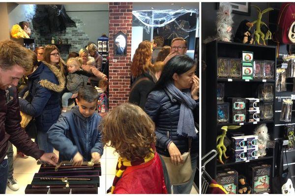 Les fans d'Harry Potter ont découvert près de 600 objets accessoires différents sur les étagères de l'Échoppe magique de Strasbourg, qui n'a pas désempli le jour de son ouverture.