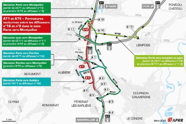 Le mercredi 24 mars, près de Clermont-Ferrand, la circulation sera déviée sur l'autoroute A75.