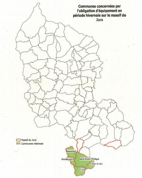 Cinq communes du Territoire de Belfort situées sur le massif du Jura sont également soumises à obligation.