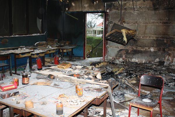 Une partie des dégâts à l'école Jules Ferry de Templeuve, suite à l'incendie.