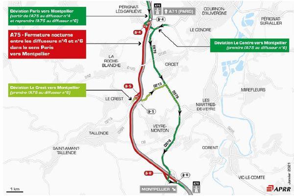 La circulation sera déviée près de Clermont-Ferrand le 2 février sur l'autoroute A75.