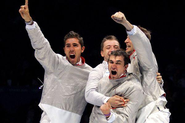 Boris Sanson, Julien Pillet, Damien Touya et Gaël Touya, le 19 août 2004 à Athènes.