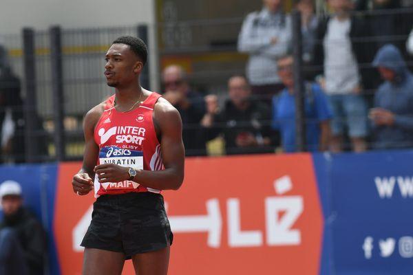 William Aubatin lors des championnats de France Elite d'athlétisme 2019, au stade Henri Lux de Saint-Etienne.