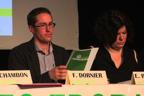 Florent Dornier, secrétaire général adjoint de la FDSEA lors du Congrès de la FDSEA du Doubs, le 31 janvier 2020 à Morteau.