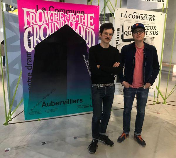 Ghislain Triboulet et Alexandre Dimos, les deux représentants du studio de Valence qui a remporté le concours international avec leur série de cinq affiches de théâtre.