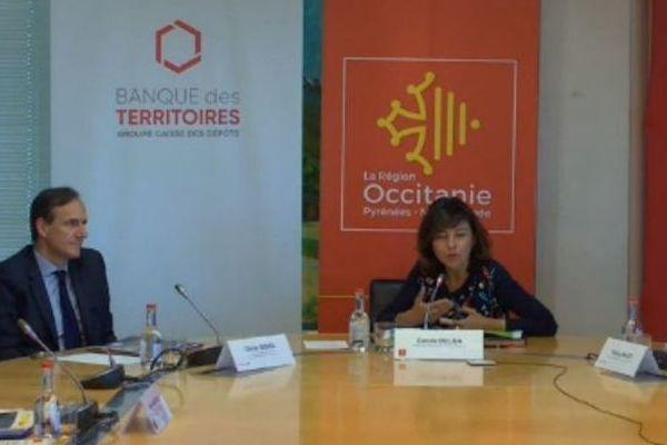 Olivier Sichel (à gauche) Directeur Général de la Banque des territoires, a signé l'accord pour la création du fonds LOCCAL avec Carole Delga, présidente de la région Occitanie.
