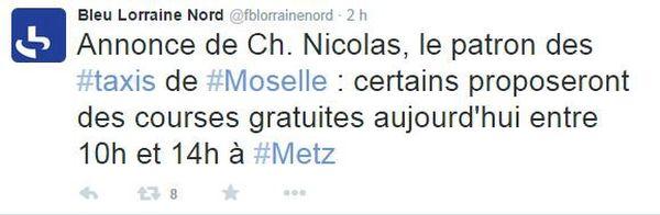Tweet sur France Bleu Lorraine Nord.