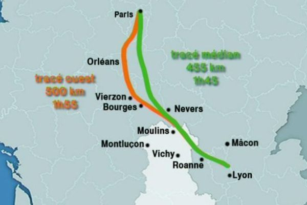 Le tracé médian, en vert sur la carte, est considéré comme le plus adapté pour aménager le territoire et doubler la liaison saturée entre Paris et Lyon.