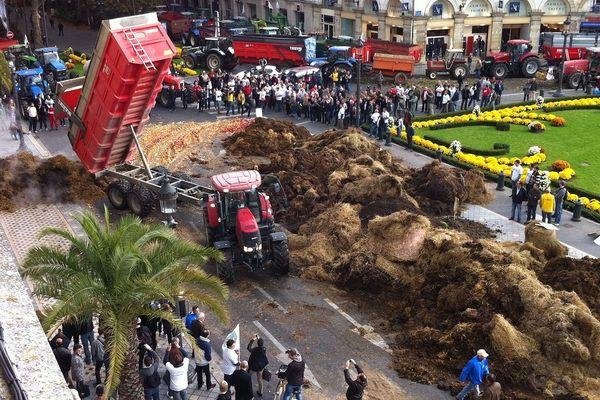 Manifestation des agriculteurs à Tours : du fumier répandu devant la Mairie