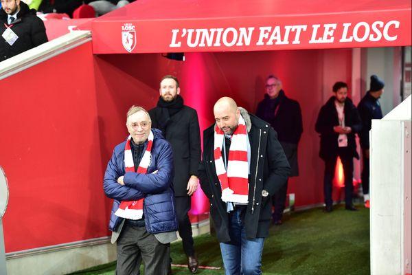 Michel Seydoux et Gérard Lopez au Stade Pierre-Mauroy.