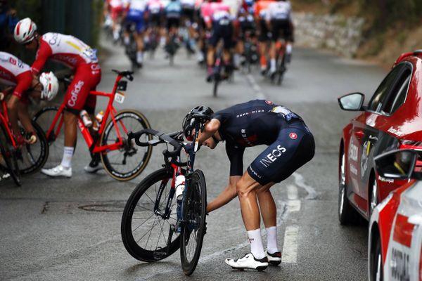 Pavel Sivakov après l'une de ses deux chutes lors de la première étape du Tour de France 2020