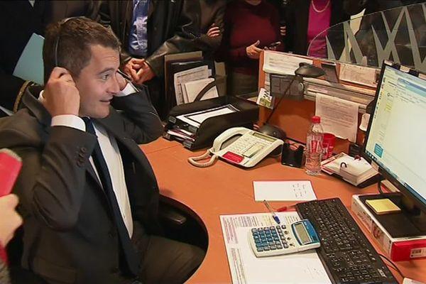 Gérald Darmanin, ministre de l'Action et des Comptes publics, en visite dans un centre des Impôts à Lyon en janvier 2019