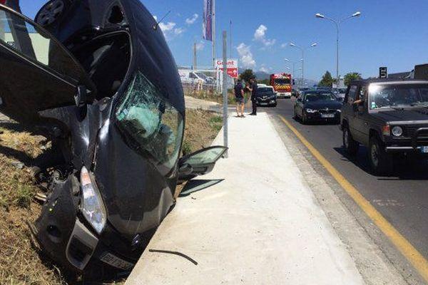 Accident de la route spectaculaire à Biguglia, le 5 juillet 2017.