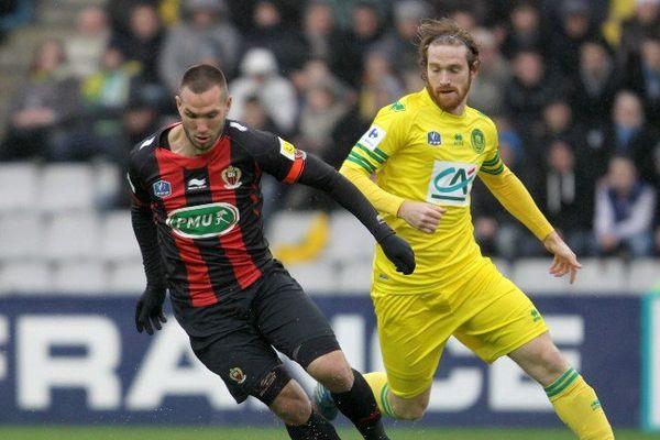Fernando Aristeguieta et  Didier Digard le 5 janvier à la Beaujoire lors de l'élimination en Coupe de France.