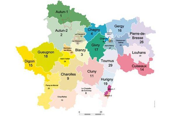 La carte des cantons a été redessinée : on en compte désormais 29 en Saône-et-Loire (au lieu de 57).