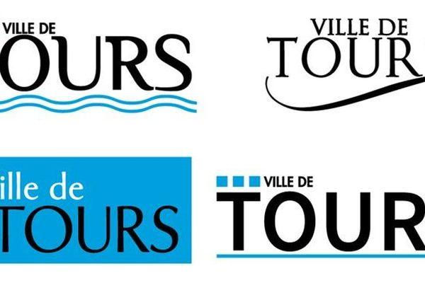 Les quatre projets en lice pour remplacer l'ancien logo de la ville de Tours.
