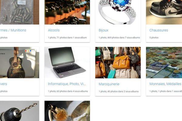 Un échantillon des plus de 200 objets volés qui attendent leur propriétaire, site de la gendarmerie d'Arcachon. Page internet mes-objets-voles.fr/