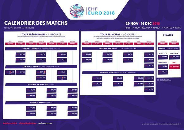 Calendrier Euro 2018 handball féminin