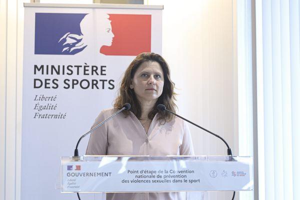 """Roxana Maracineanu ministre des Sports lors de la conférence de presse """"temps 2"""" convention nationale de prévention des violences sexuelles dans le sport au ministere. Paris, le prmeier juillet 2020 2020"""