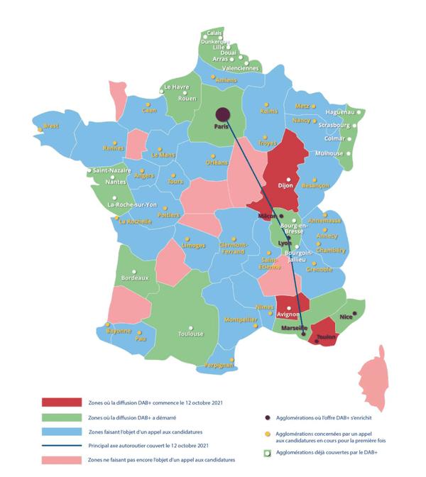 La carte du déploiement du DAB+ en France.