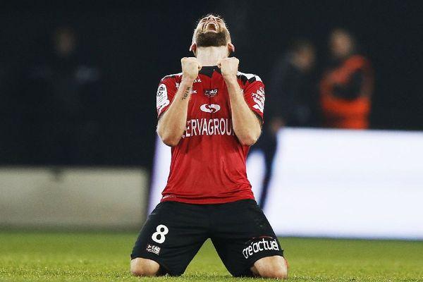 La joie du butteur Lucas Deaux à l'issue du match contre Angers ce 23/02/2019