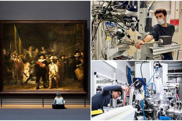 """Les pigments de """"La Ronde de Nuit"""" de Rembrandt auscultés à Grenoble par Victor Gonzalez et Marine Cotte grâce à la lumière synchrotron pour percer les mystères de la peinture du maître flamand."""