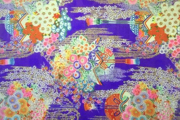 Cette impression sur laine, conservée au MISE, a été fabriquée au Japon et présentée à l'Exposition universelle de 1900 à Paris.