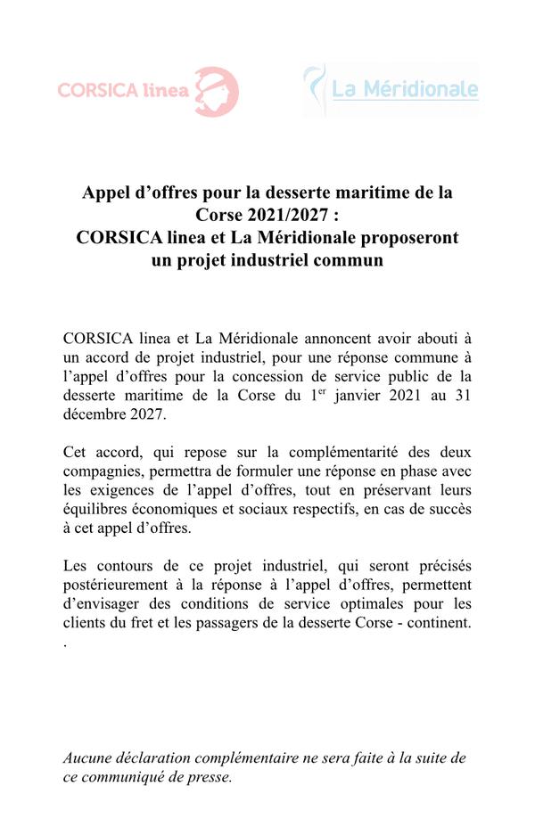 Communiqué de presse de la Méridionale et de Corsica Linea