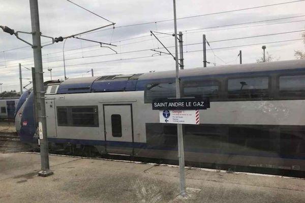 Des trains patientent en gare de Saint-André-le-Gaz suite à un incident à un passage à niveau de Bourgoin-Jallieu.