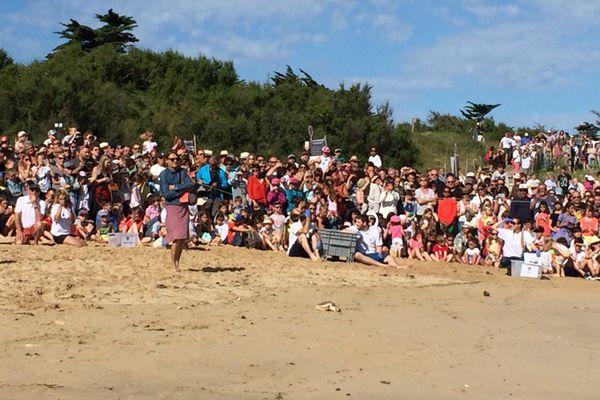 Un très nombreux public assistait à cette remise en liberté des tortues