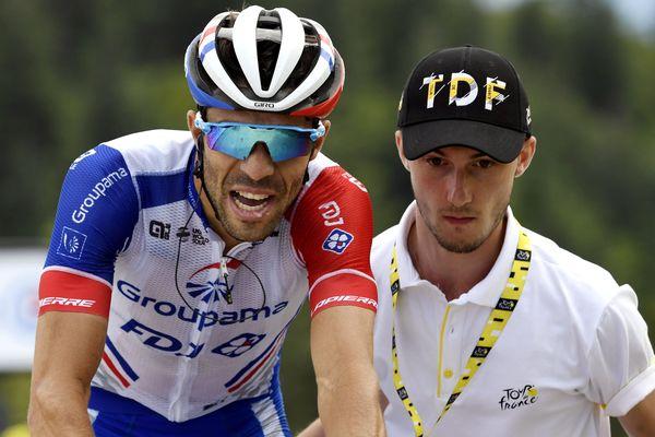 Thibaut Pinot, FDJ en juillet 2019 à l'arrivée de l'étape du Tour de France à la Planche des Belles Filles en Haute-Saône
