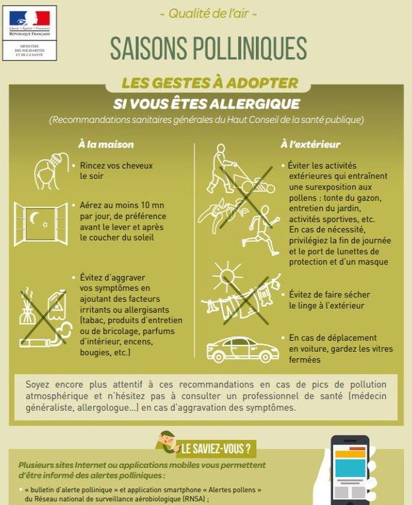 Les conseils du Ministère de la Santé pour limiter les allergies aux pollens