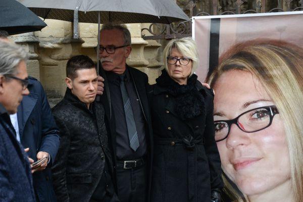 Jonathann Daval en novembre 2017 à Gray en Haute-Saône lors des obsèques de son épouse Alexia.